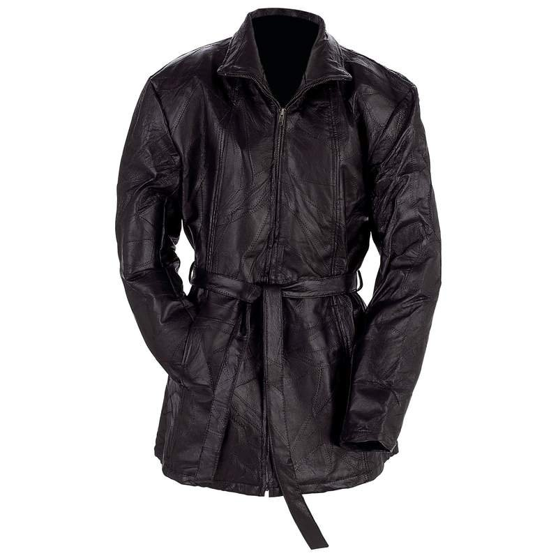 Giovanni Navarre Ladies Leather Jacket with Belt Tie - Size Large