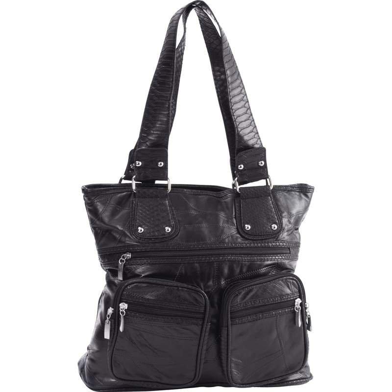 Embassy Italian Stone Design Leather Purse with Zippered Main Pocket