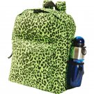 Extreme Pak Cotton Canvas Neon Green Leopard Print Backpack