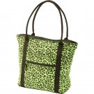 Extreme Pak Neon Green Leopard Print Cotton Canvas Shopping Tote