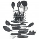 Maxam 17pc Kitchen Tool Set with Wire Storage Basket