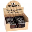 Embassy 24pc Solid Lambskin Leather Coin Purses in Countertop Display