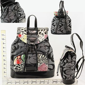 Backpack - Black/Grey CC Print & Various  With Animal Print 20% OFF