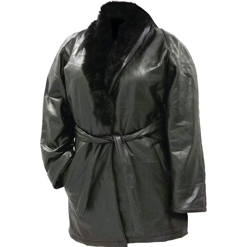 Lambskin Leather Ladies Coat with Rabbit Fur Collar - Size Large