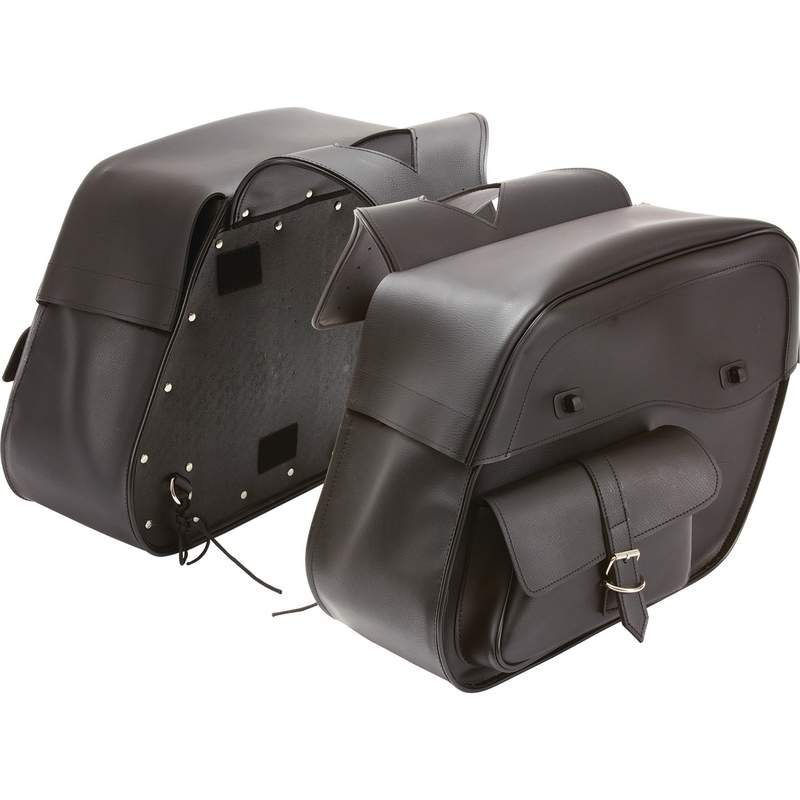 Diamond Plate Water-Resistant PVC 2pc Motorcycle Saddlebag Set
