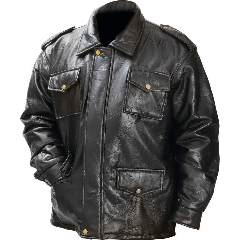 Giovanni Navarre Leather Field Jacket With Pockets Large