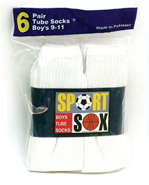 Boys Sport Sox  White Tube Socks 6-8 1/2 15% OFF
