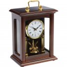 Kassel Wood Frame Quartz Table Clock with Glass Front and Sides