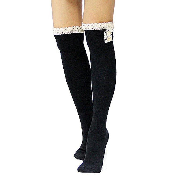 Womens Black Cotton Knee High Lomg Leg Warmer Socks