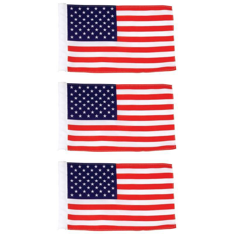 """3pc 100% Polyester Motorcycle Replacement 6"""" x 9"""" USA Flags"""