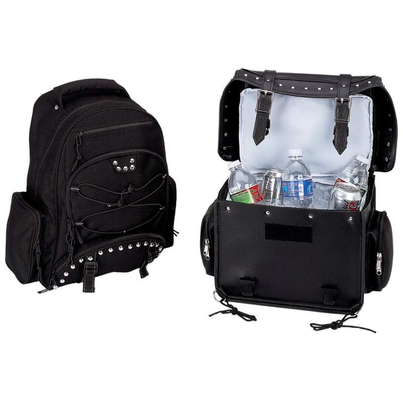 Diamond Plate Black Heavy-Duty PVC Motorcycle Cooler Bag and Backpack