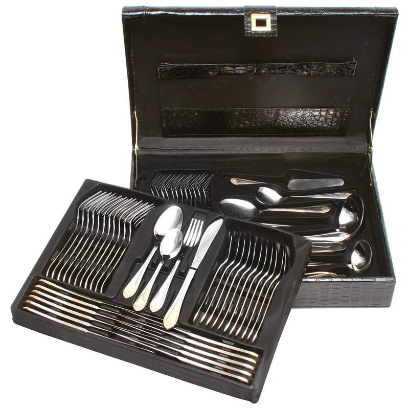Stainless Steel 72 PC Flatware and Hostess Set with Gold Trim
