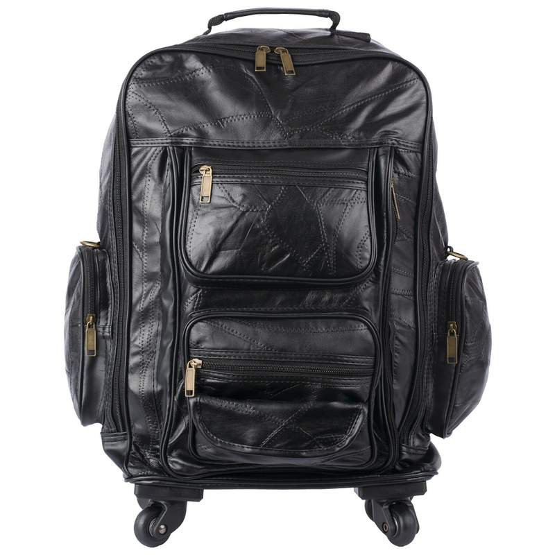 Embassy Black Genuine Patch Leather Trolley Bag-Backpack New