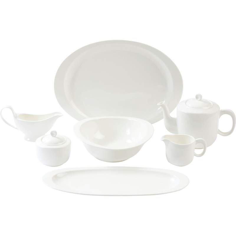 Nikita 7pc White Porcelain Serving Set