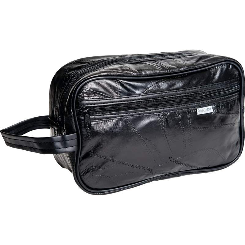 Embassy Italian Stone Design Black Leather Personal Travel Bag