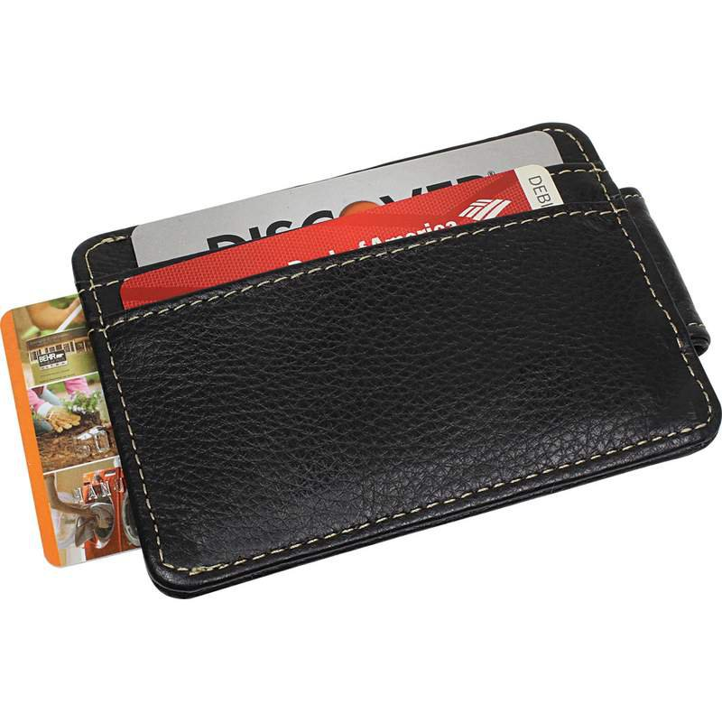 Black Leather Magnetic Money Clip Wallet with Credit Card Slots