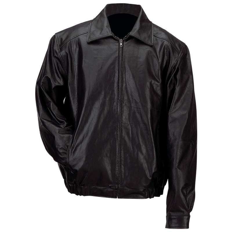 Men�s Solid Genuine Leather Bomber-Style Jacket - Size Large