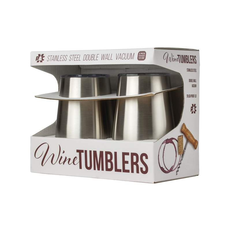12 oz Stainless Steel Double-Wall Wine Tumblers with Acrylic Lids