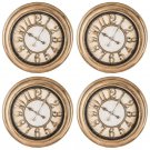 "24"" Antique Gold Round Wall Clock, Case Pack of 4 Pieces"