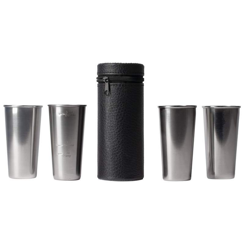 Stainless Steel 4 PC Double-Shot Sized Shot Glass Set with Carry Case