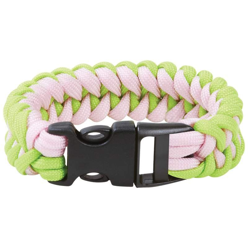 """8"""" Green and Pink Paracord Bracelet with 10-3/4' of Parachute Cord"""