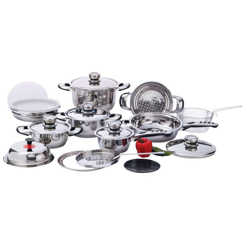 22 PC 12-Element, High-Quality, Heavy-Duty Stainless Steel Cookware Set 10% OFF