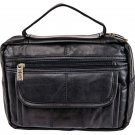 Embassy Black Solid Leather Bible Cover with Hand Strap and Pen Holder