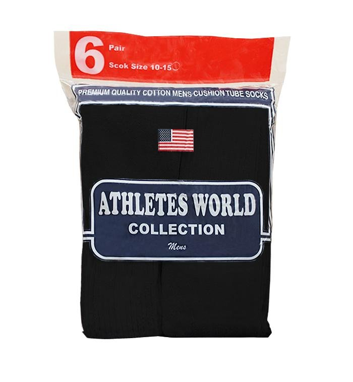 Athletes World Black Over the Calf Tube Socks