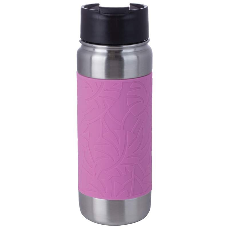 18 oz Double Wall Vacuum Bottle with Pink Wrap and Flip Top Lid