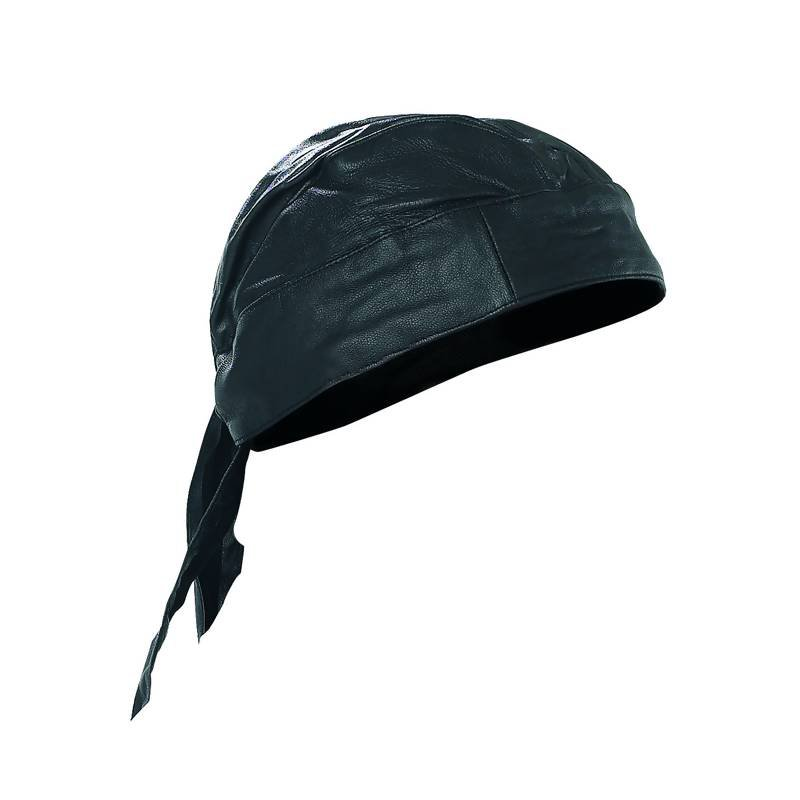 Diamond Plate Solid Leather Skull Cap with Adjustable Tie Back
