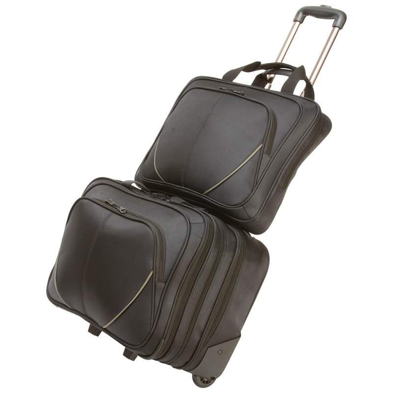 Maxam 2pc Rolling Trolley Business/Overnight Bag with Laptop Bag