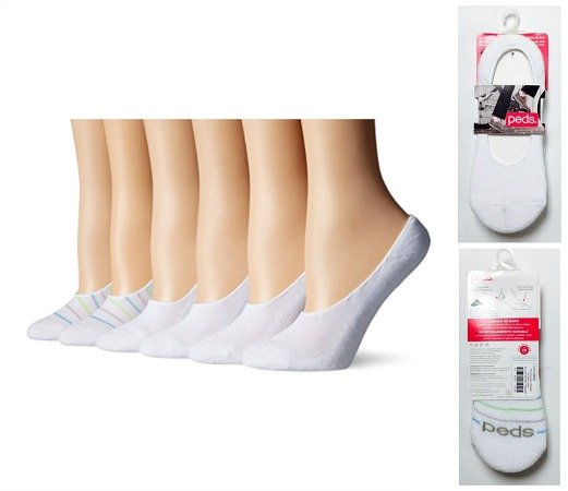 PEDS Women's Cushion No Show Liners, 6 Pairs, Assorted