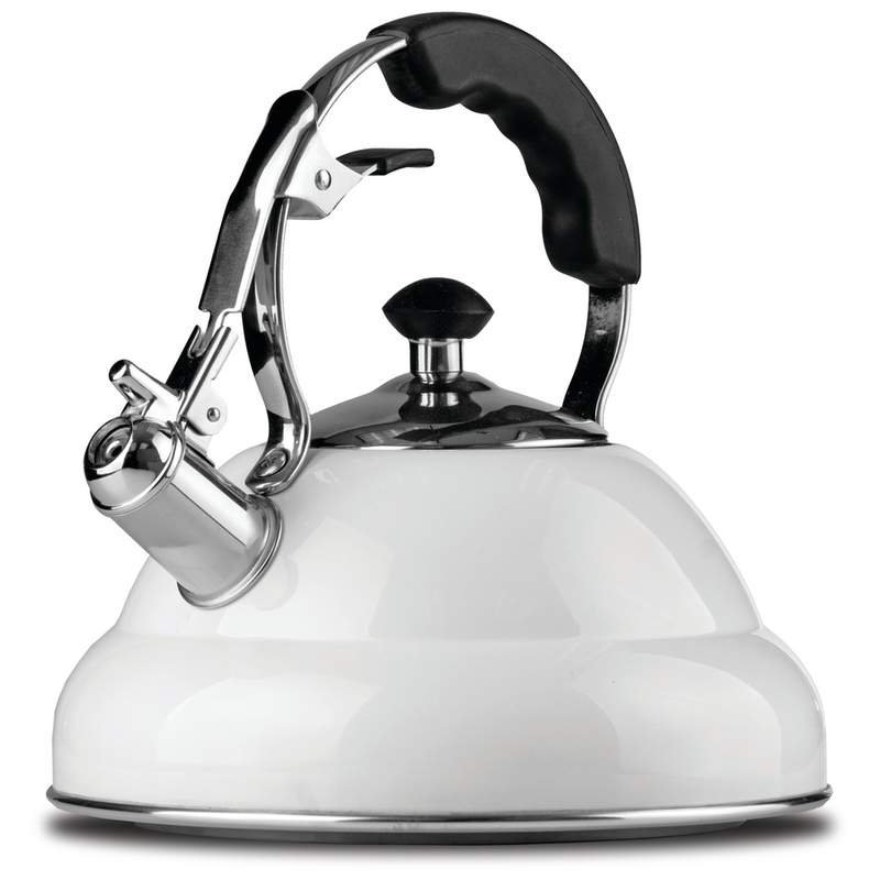 2.6 liter White Stainless Steel Tea Kettle with Copper Bottom