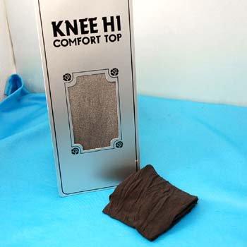 Comfort Top Black Nylon Knee Highs