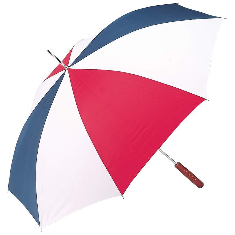 "48"" Auto Open Umbrella with Red, White and Blue Alternating Nylon Panels"