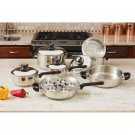 17pc Heavy-gauge T304 Stainless Steel Cookware Set