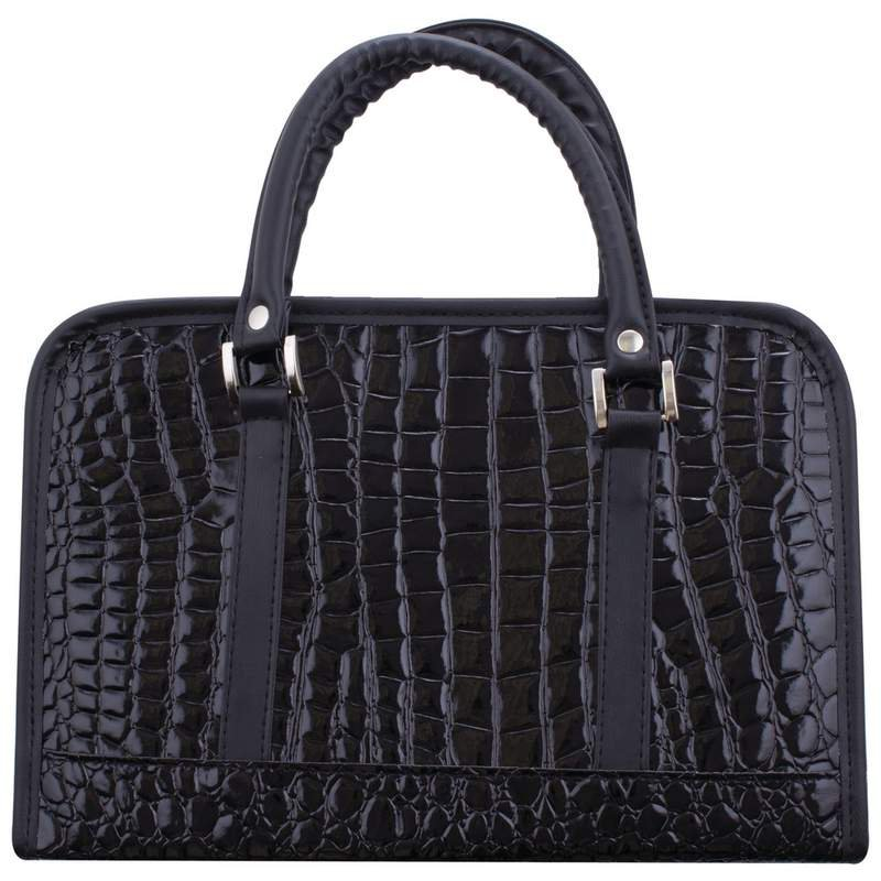 Black Faux Alligator Bible Cover with Zippered Main Pocket