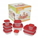 Clear Container Set with Red Lids - 20 Piece
