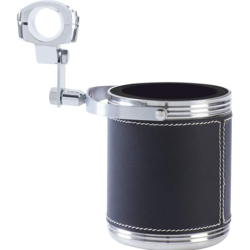 Large Stainless Steel Motorcycle Cup Holder with Faux Leather Wrap