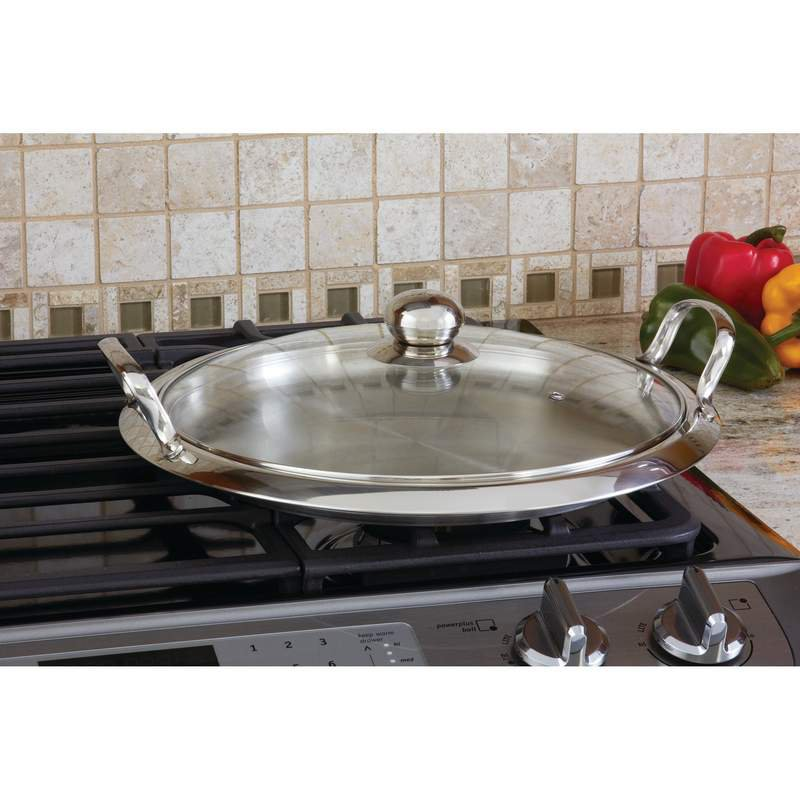 12-Element Stainless Steel Round Griddle with Vented Glass Cover