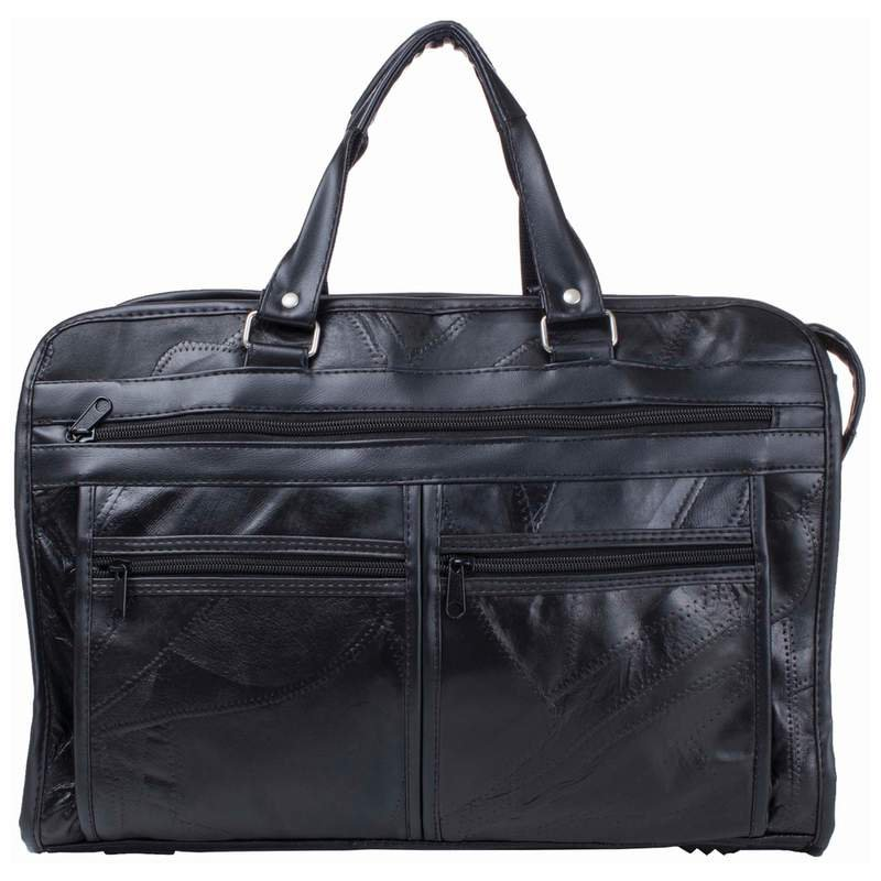 Maxam Italian Mosaic Design Leather Briefcase with Zippered Pockets