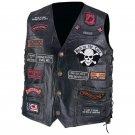 Pebble Grain Buffalo Leather Biker Vest with 23 Patches - Size Medium 41.96% OFF