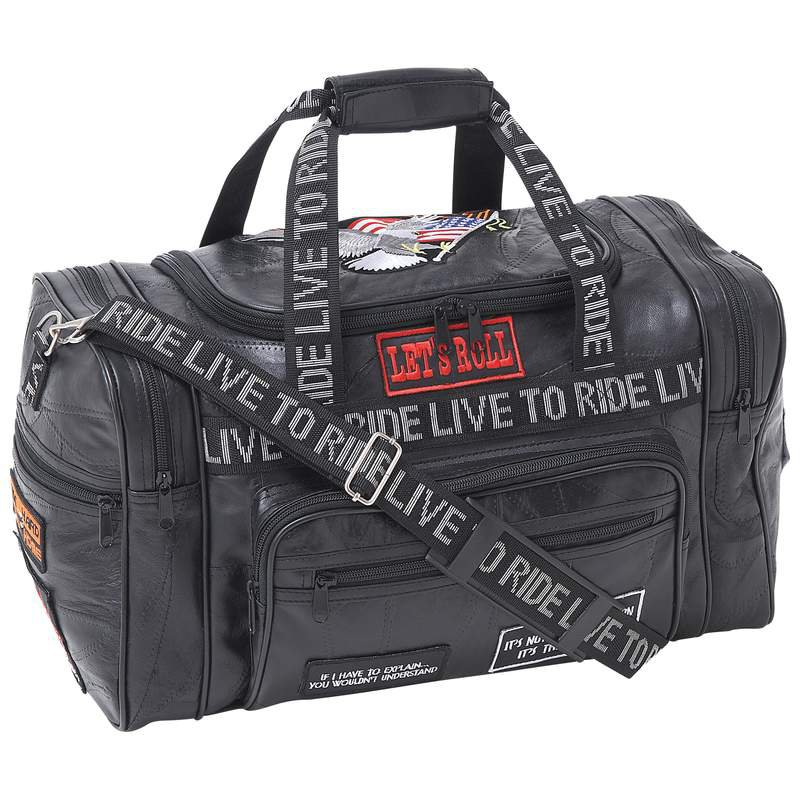 Diamond Plate Rock Design Black Leather LIVE TO RIDE Tote Bag