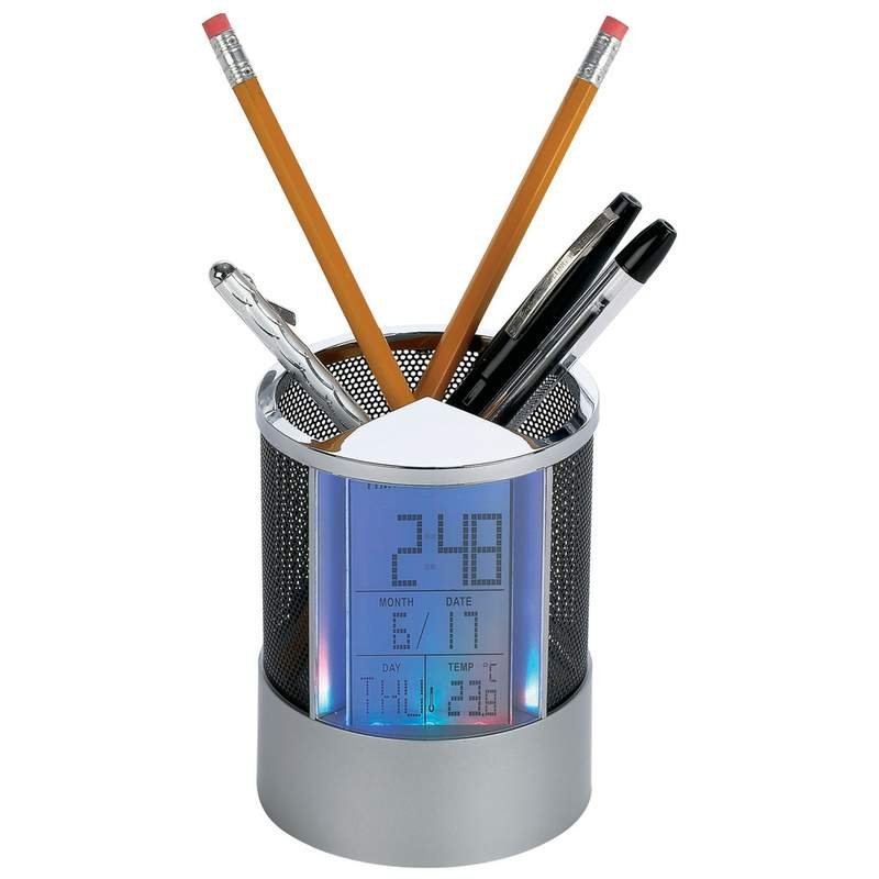 Mitaki-Japan Pen Holder Clock with Alarm and Colored LED Lights