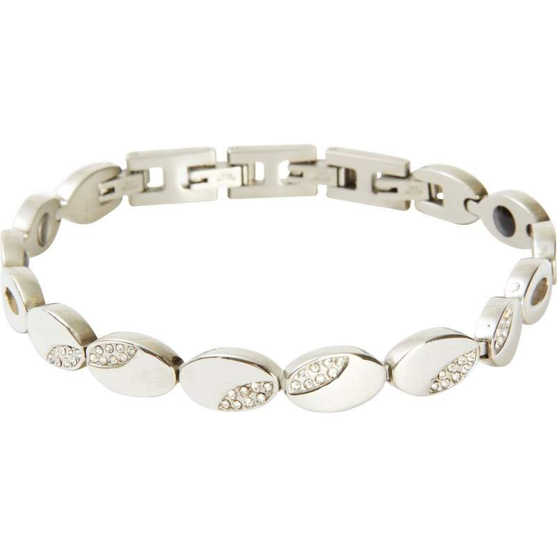 Navarre Stainless Steel Cubic Zirconia Bracelet with 11 Magnets