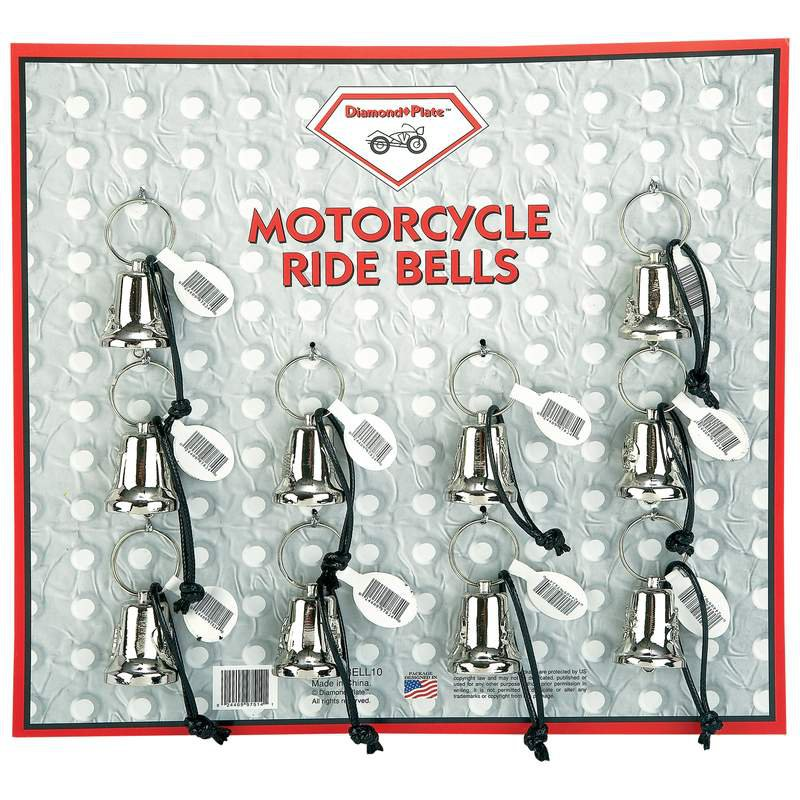 Diamond Plate 10pc Assorted Silver Tone Metal Motorcycle Bell Set