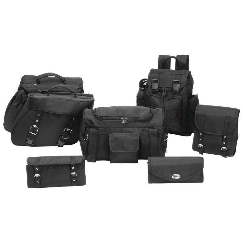 Diamond Plate 6pc Rock Design Buffalo Leather Motorcycle Luggage Set