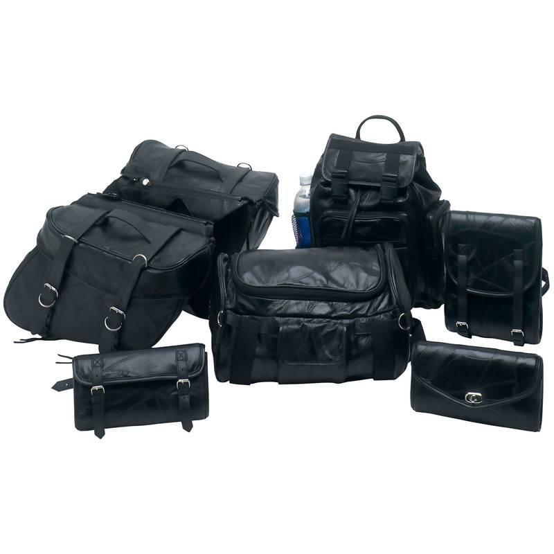 Diamond Plate 7pc Rock Design Buffalo Leather Motorcycle Bag Set