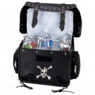 Diamond Plate Black Motorcycle Trunk/Cooler Bag with Skull Medallion