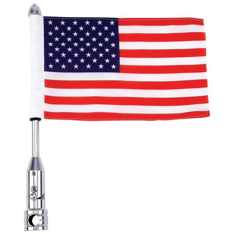 Diamond Plate Motorcycle Flagpole Mount with 2-Ply Polyester USA Flag